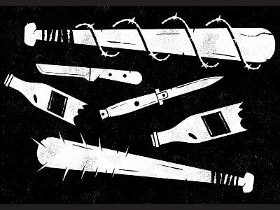 Brawl Supplies brawl fight broken bottles barbed wire wire knife bat weapon illustration icon