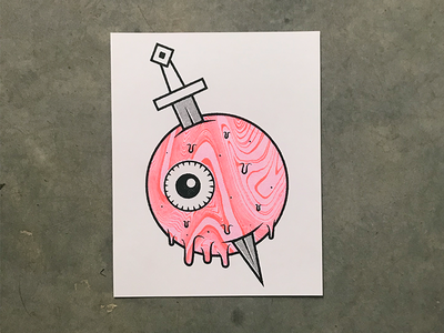 Eyeball Risgraph neon orange pink design blade knife eyes eye riso print risography risoprint risograph riso illustration