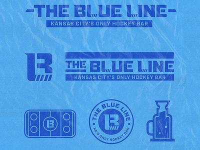 Blue Line Hockey Bar kansas city kc blue line bar hockey stick hockey logo sports bar sports hockey illustration icons mark branding brand logo icon