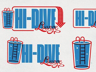 Hi-Dive Lounge diving board pool typogaphy type beer art beer bar lounge hi dive monogram badge illustration mark icons branding brand logo