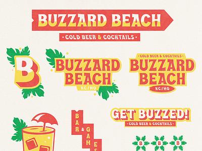 Buzzard Beach kansas city kc dive bar bar beach tropical badge illustration mark icons branding brand logo icon