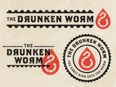 The Drunken Worm kansas city kc bar drunk worm badge illustration mark icons branding brand logo icon