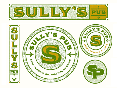 Sully's Pub darts jar sully bar monogram logos badge illustration mark icons branding brand logo icon