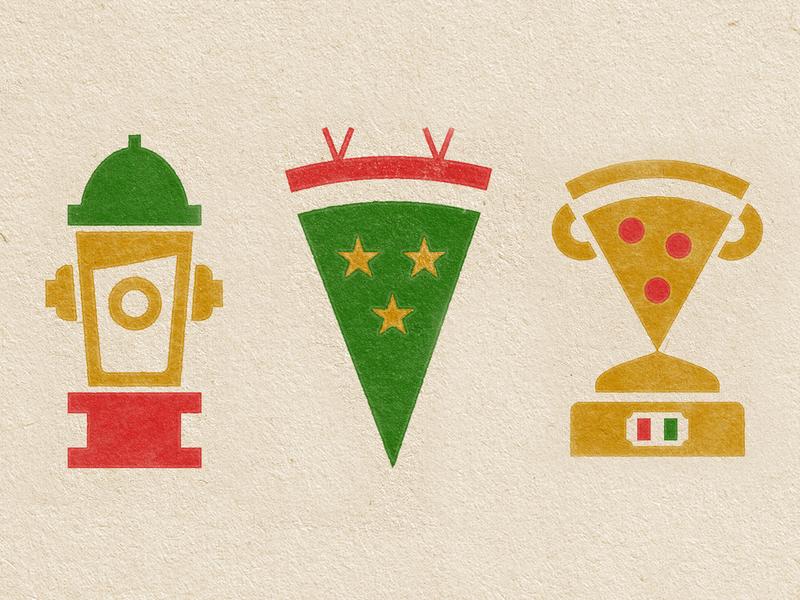 Caddy Shack kc kansas city trophy sports pizza badge illustration mark icons branding brand logo icon