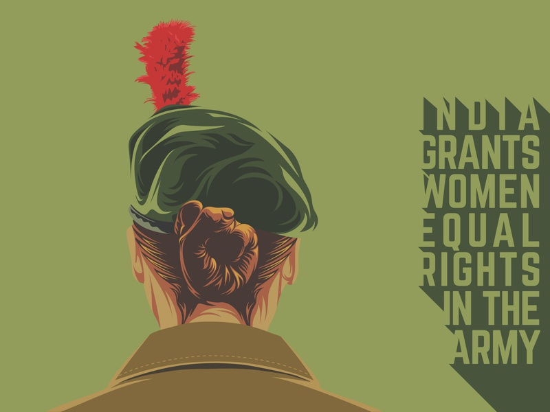 Equal rights hairstyle bereta girl power woman typography graphic news news feed equal rights change military news indian editorial vector design poster drawing artwork illustration