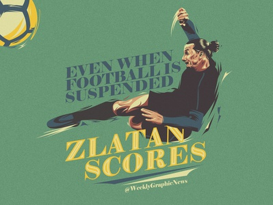 What would Zlatan do volley headline typography vector illustration training sport football art editorial art editorial news goal striker zlatan football artwork illustration