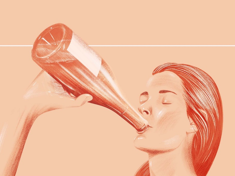 Wine Day rose peach drinking wine beauty photoshop negative space portrait poster drawing design artwork illustration