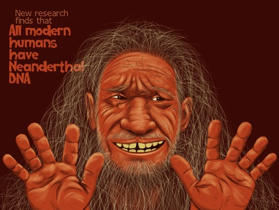 Guilty! weekly graphic news conceptual editorial art editorial guilty smile hair skin old human neanderthal science dna history photoshop brush portrait drawing artwork illustration