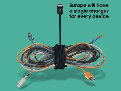 Universal Charger realism conceptual battery europe news magazine editorial cables usb-c charger tech artwork illustration