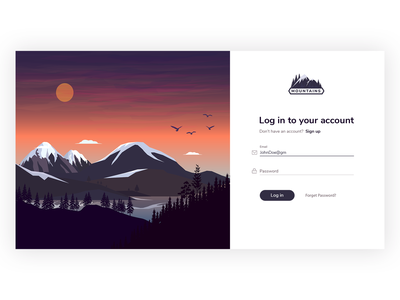 Log In Nature nature theme mountains sign in screen sign in form sign in ui design design illustration account form log in