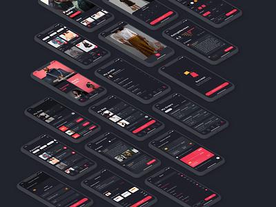 FREE | E-Comm Mobile Application Dark Version ecommerce uxui figma free figma file freebie clothes shop e-comm dark version dark theme dark ui mobile ui mobile app mobile application e-commerce design e-commerce app e-commerce