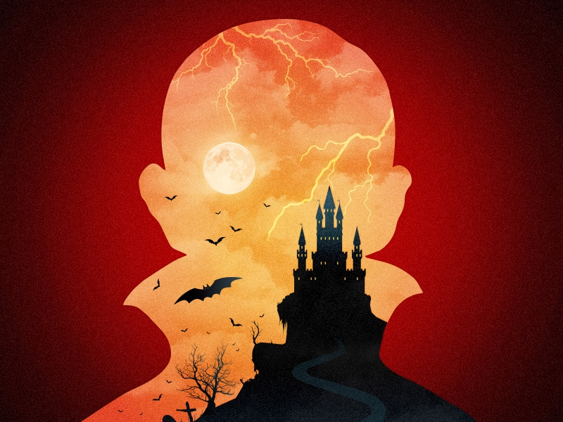 Count Dracula monster moon lightning castle bats vector silhouette movies horror count halloween 1931 dracula
