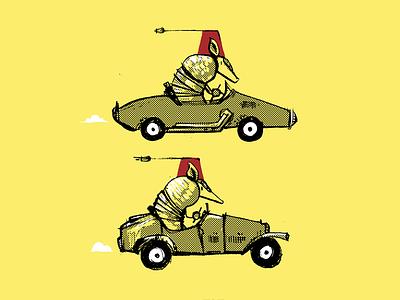 A) Fez of Armadillos tiny cars armadillos animals in cars animals