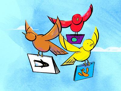 The Bookfinder Birds bright colors editorial illustration spot illustration birds