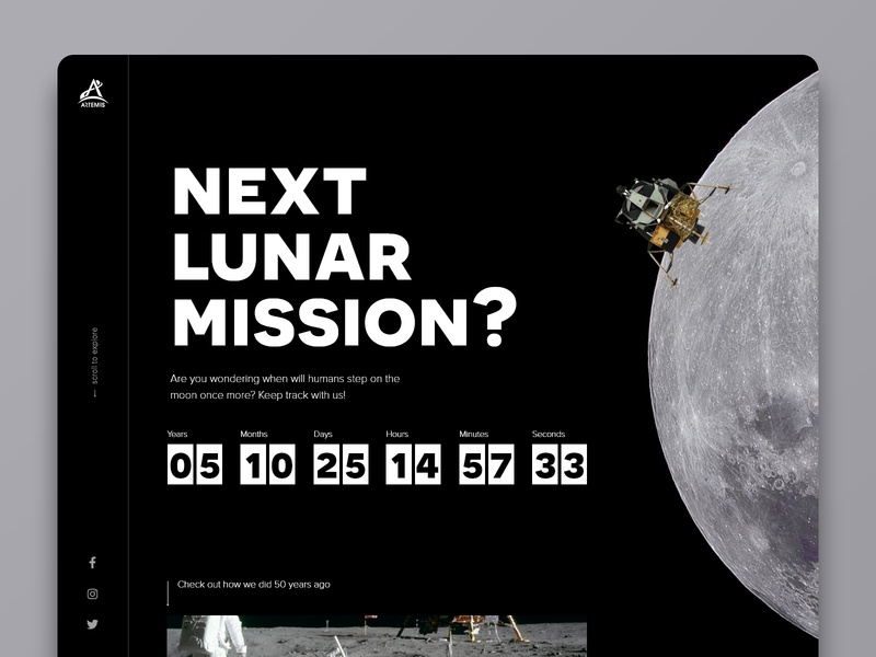 DailyUI 014 - Countdown artemis apollo moon landing moon web daily ui website web  design dailyui webdesign design