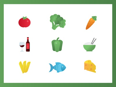 Food icons flat set