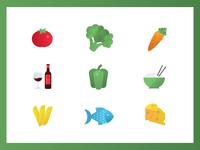 Food icons flat set