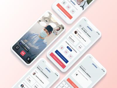 Yesdoc Mobile App adobe xd company doctor health application app design app design mockup video ux ui