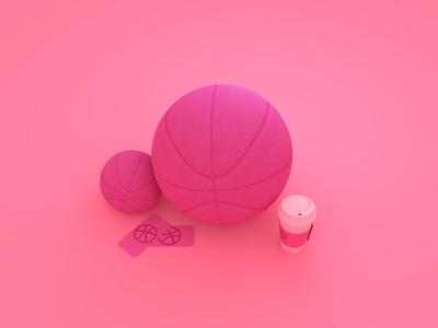 Hi dribbble! first shot dribbble coffee ticket inviting illustration hello dribbble minimalism blender3d blender ball