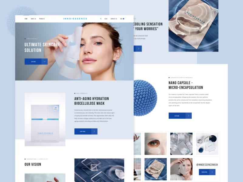 InnoEssence™ website minimal skincare innovation web design ux design webdesign design inspiration colors