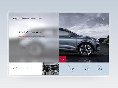 Audi Q4 e-tron concept web design website web webdesign graphicdesign minimal colors ux design concept inspiration car