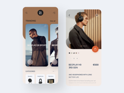 Bang & Olufsen App inspiration cards clean web design mobile ux ui mobile app design music app minimal uidesign trend ux ui shop product layout headphone concept application