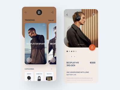 Bang & Olufsen App inspiration cards clean web design mobile ux ui mobile app design music app minimal uidesign trend ux ui shop product layout headphone concept application