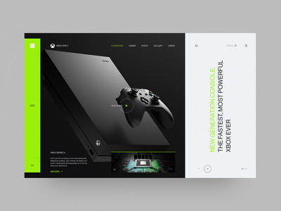 Xbox Series X web design colors typography modern webdesign uxdesign uidesign concept layout minimal product ui ux console xbox trend clean inspiration