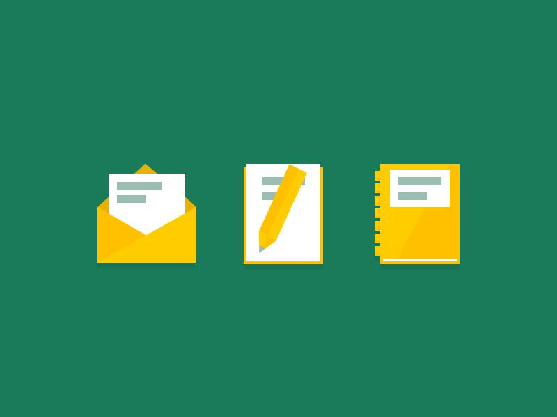 Flat Icons icons flat green yellow portfolio blog mail
