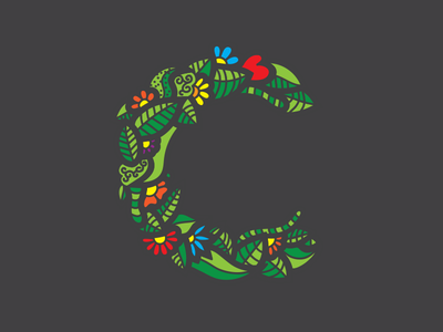 C typography c nature leafs flowers 36daysoftype 2d