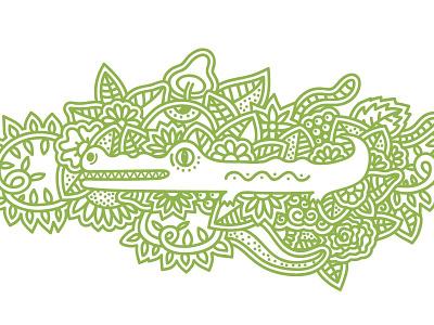 Jungle illustration linework shrooms mushroom flowers green leafs crocodile jungle
