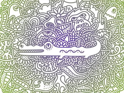 Jungle Pattern jungle violet green leaf flower snake mushroom cock pigeon bird monkey crocodile
