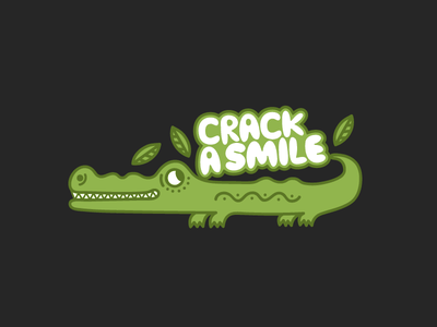 Crack a Smile Crocodile animal cute funny green leaf smile crocodile