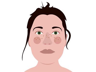 Girl Illustration illustration flat brown green freckle girl