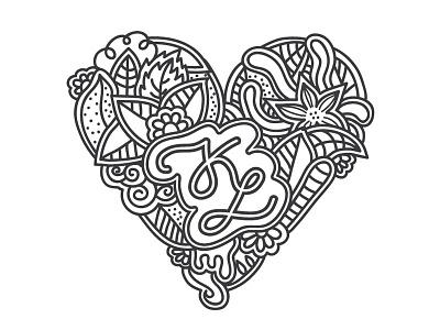 K - L Heart Monogram heart flowers leafs foliage floral l k monogram