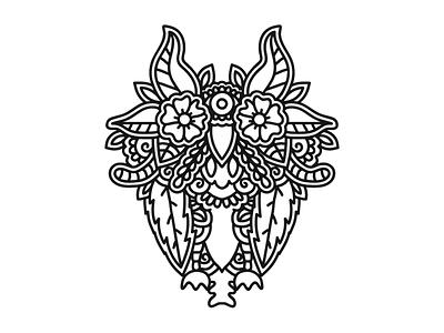leafy owl handdrawn drawing flowers leaf foliage symmetry owl
