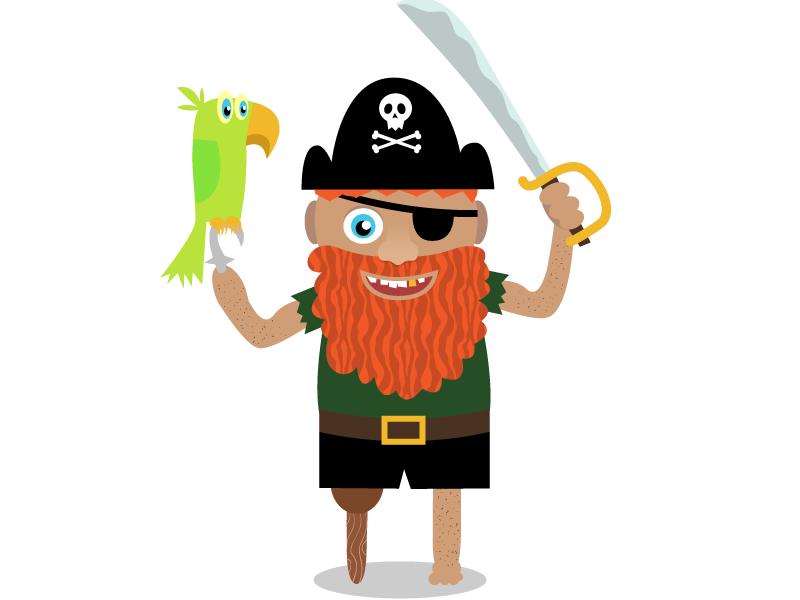 Pirate jolly roger redbeard beard kids cripple golden tooth sword parrot pirat