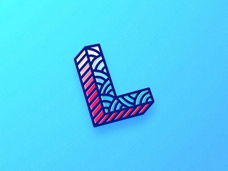 L letter handdrawn lettering typography