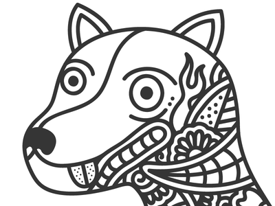 Tattoo Dog floral wacom illustrator doodling dog tattoo