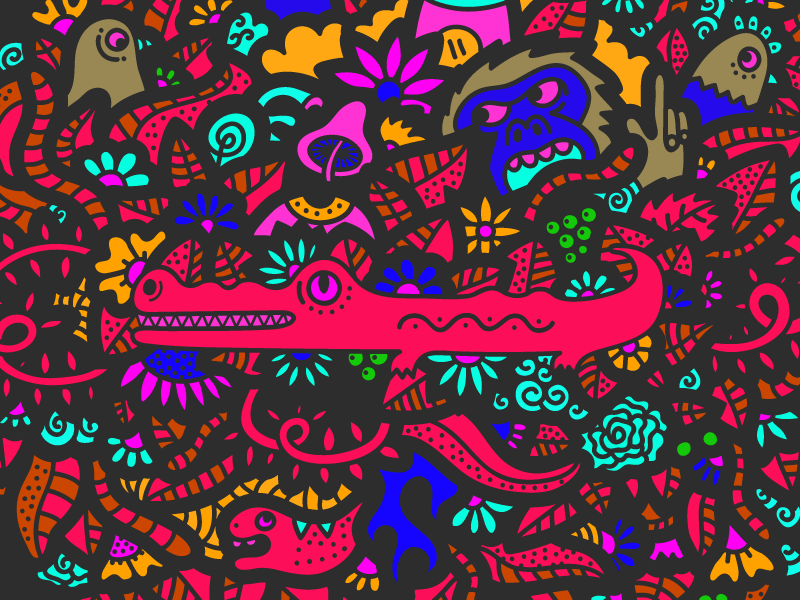 Psychedelic Jungle pattern rooster snake trippy monkey crocodile jungle psychedelic