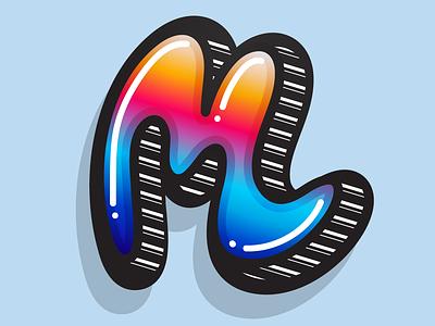 M illustrator vector graffiti urban custom letter lettering typography letter m letter