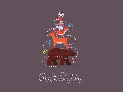 Christmas tree avocado mushroom owl squirrel cat deer bear christmas tree
