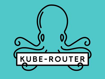 Kube-Router Logo branding octopus monoline logo design logo