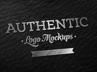 PSD Freebie - Metallic Finish on Dark Leather Logo Mockup