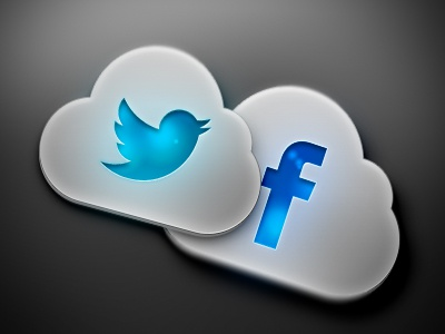 Social Cloud Icons cloud social twitter facebook icon metalic light highlight