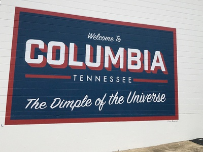 Typographic mural in Columbia, Tennessee