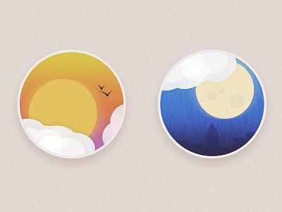 Weather Badges weather noise badges badge city moon sun rain clouds birds sunset
