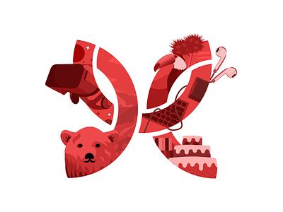Modus turns 8! sketch vector red illustration vr tech modus create modus birthday