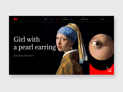 Girl with a Pearl Earring filtering inspiration ux dribbble site design fashion popular top filter promo girl vermeer gallery art gallery painting art concept ui web design web
