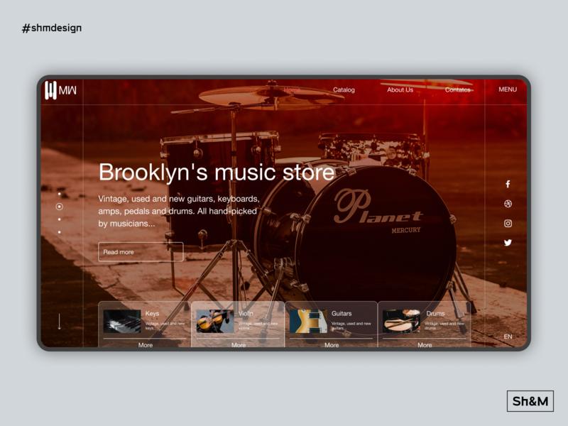 Brooklyn's music store e commerce site design guitars shmdesign drums music instrument music music store concept ui web design web